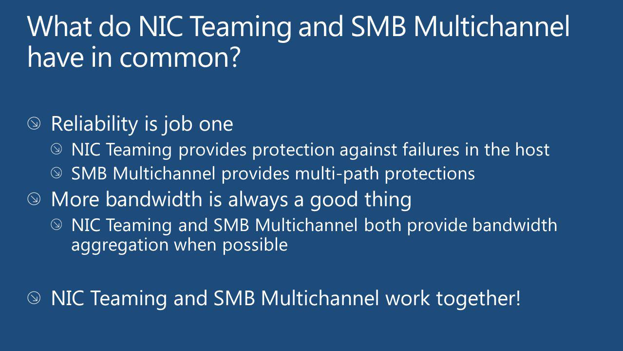 What do NIC Teaming and SMB Multichannel have in common