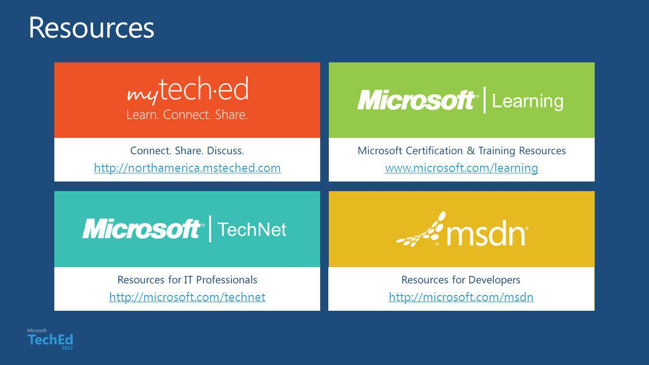 Resources Learning TechNet http://northamerica.msteched.com