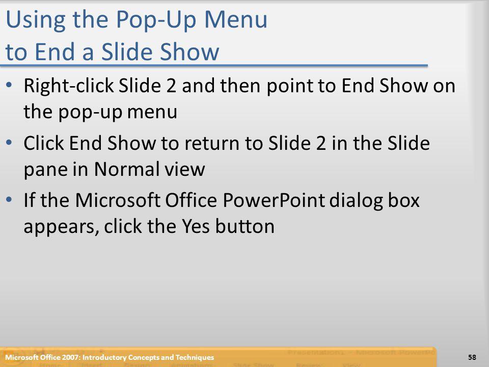 Using the Pop-Up Menu to End a Slide Show