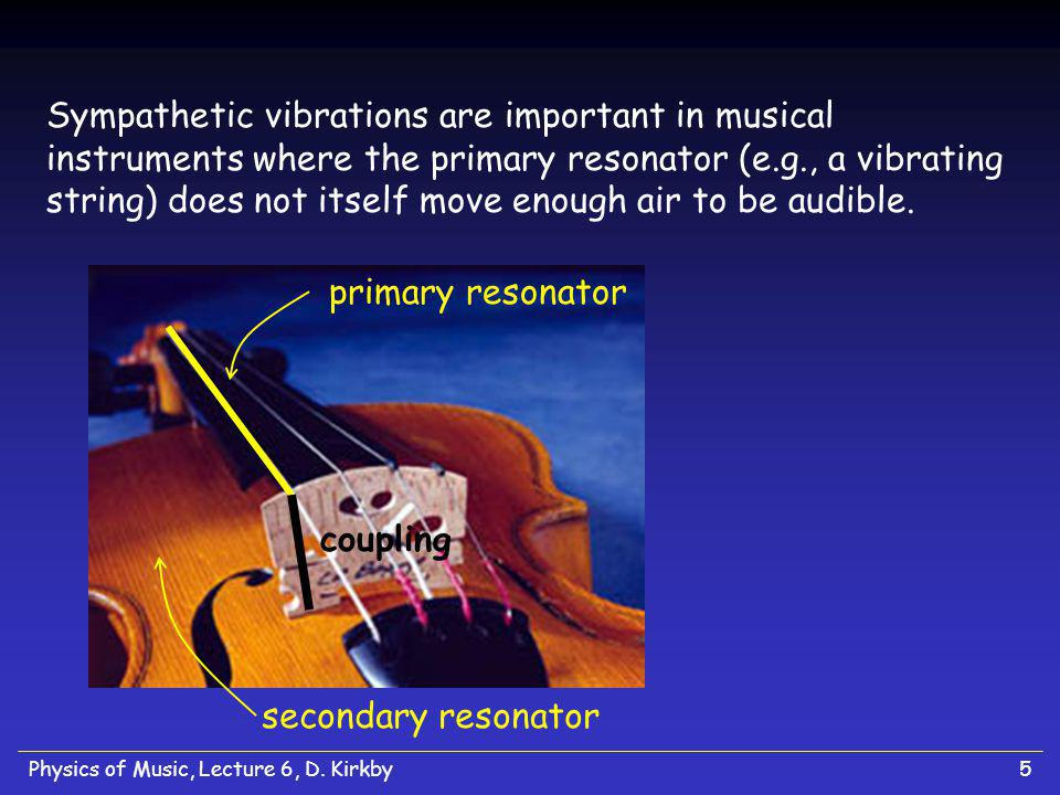 Sympathetic vibrations are important in musical instruments where the primary resonator (e.g., a vibrating string) does not itself move enough air to be audible.