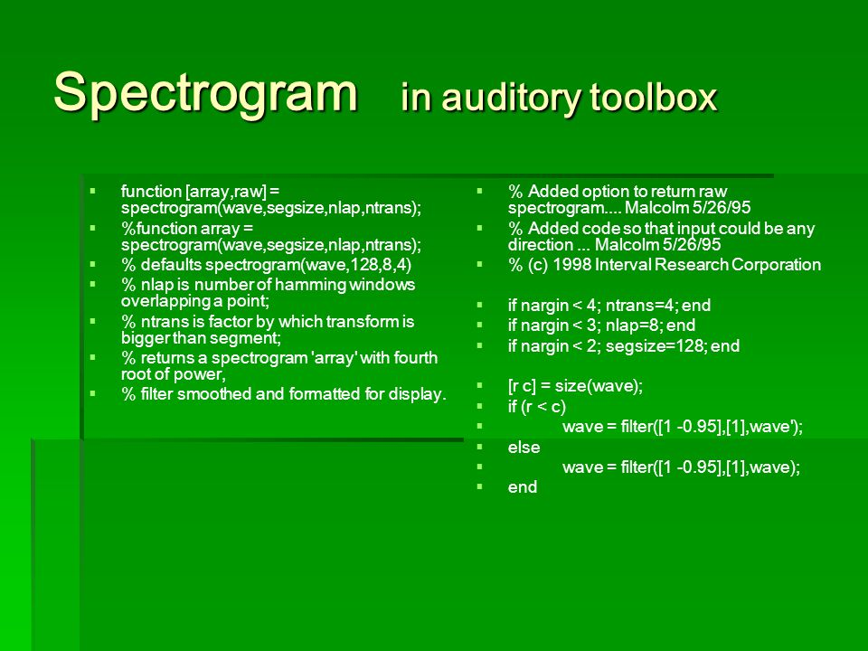 Spectrogram in auditory toolbox