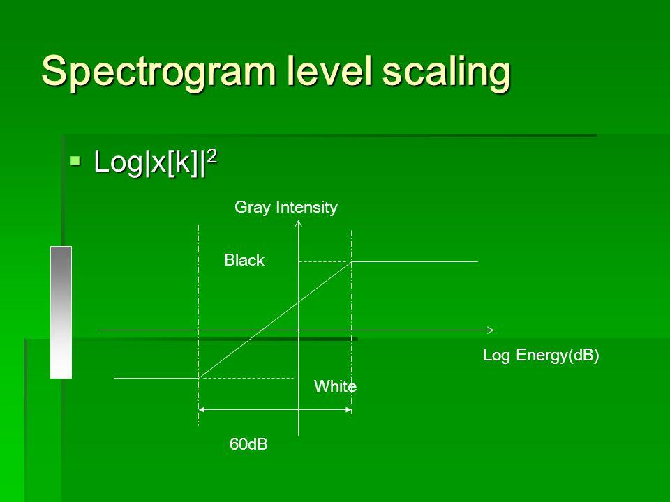 Spectrogram level scaling