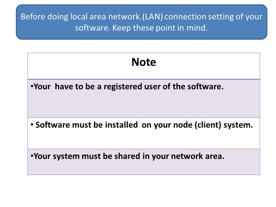 Before doing local area network