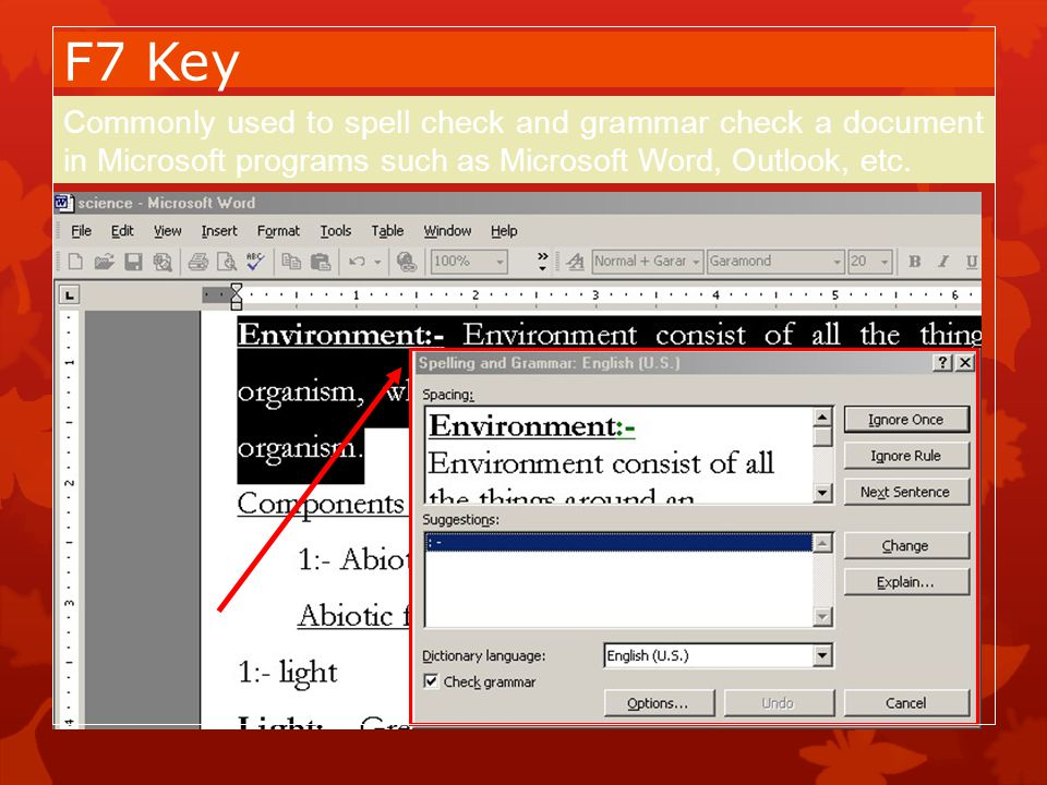 F7 Key Commonly used to spell check and grammar check a document in Microsoft programs such as Microsoft Word, Outlook, etc.