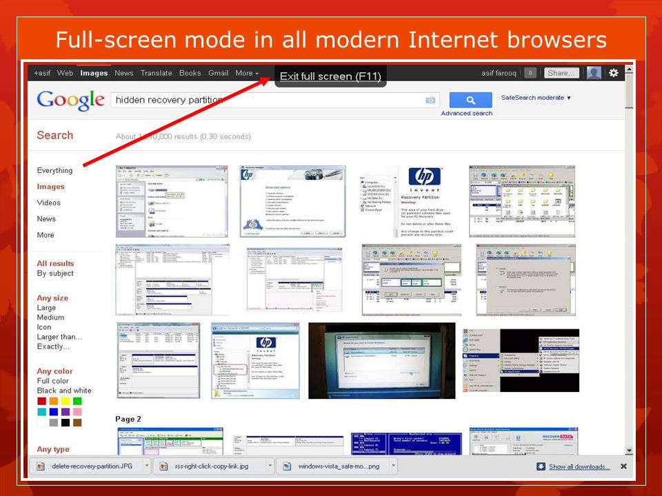 Full-screen mode in all modern Internet browsers