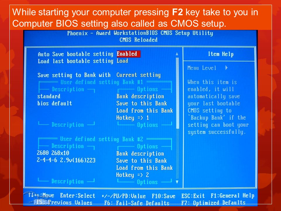 While starting your computer pressing F2 key take to you in Computer BIOS setting also called as CMOS setup.