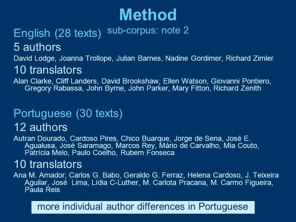 Method sub-corpus: note 2