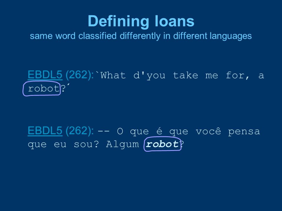 Defining loans same word classified differently in different languages