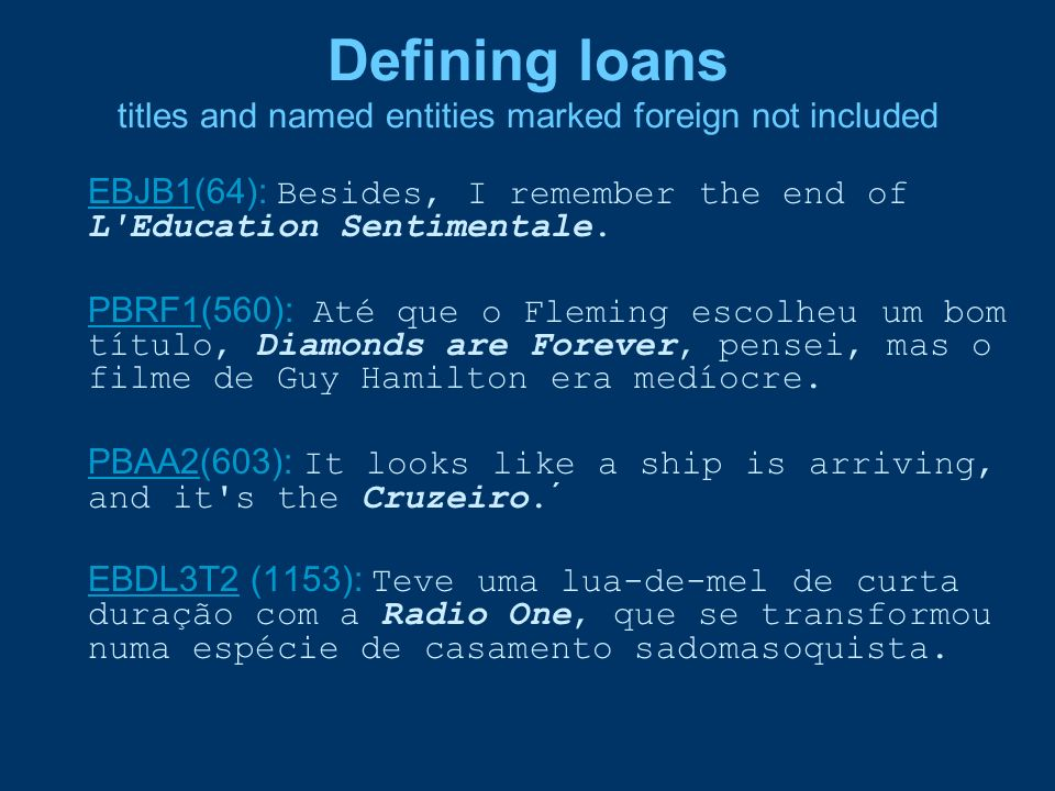 Defining loans titles and named entities marked foreign not included
