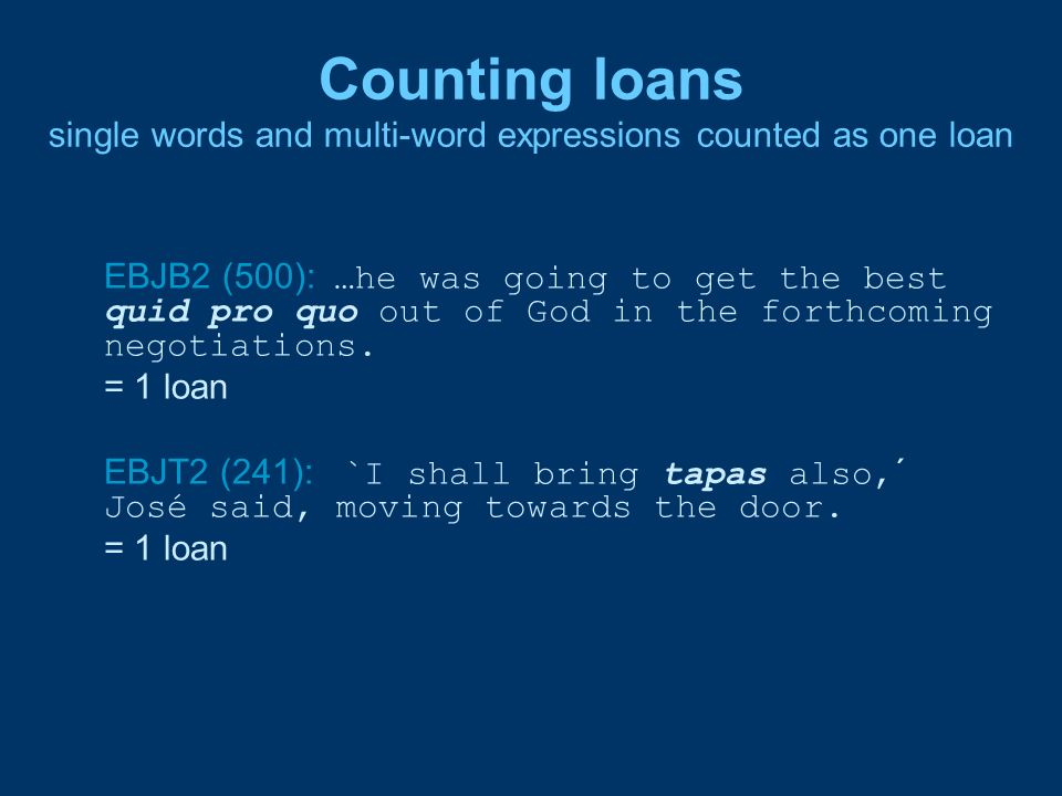 Counting loans single words and multi-word expressions counted as one loan