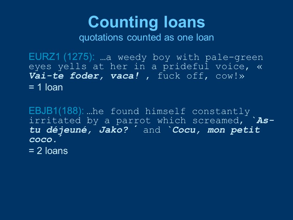 Counting loans quotations counted as one loan