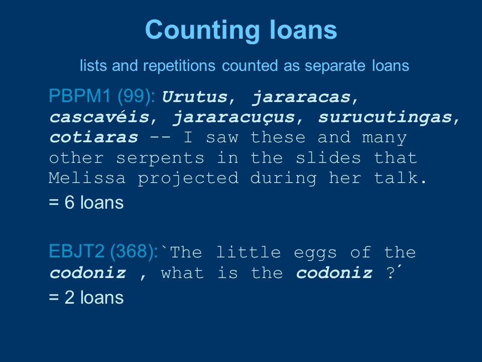 Counting loans lists and repetitions counted as separate loans