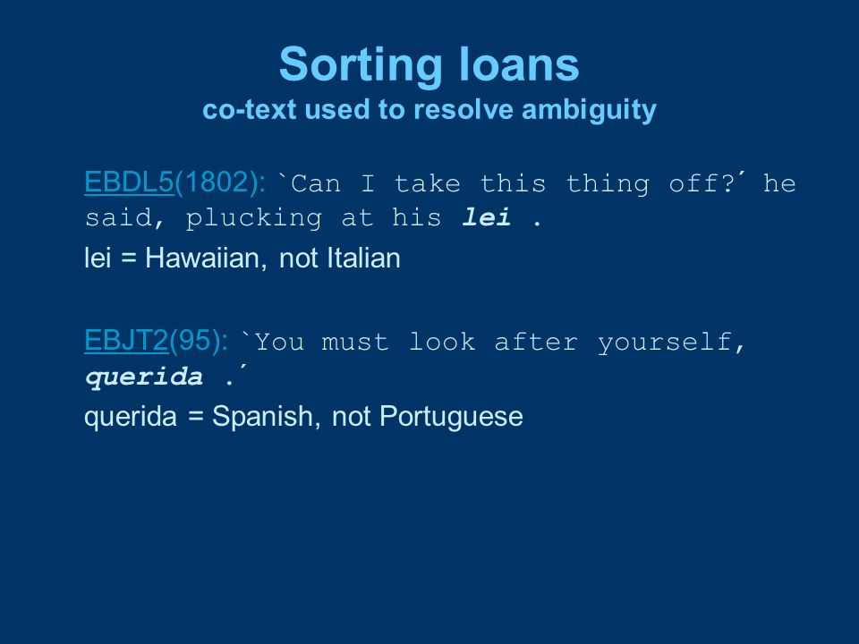 Sorting loans co-text used to resolve ambiguity