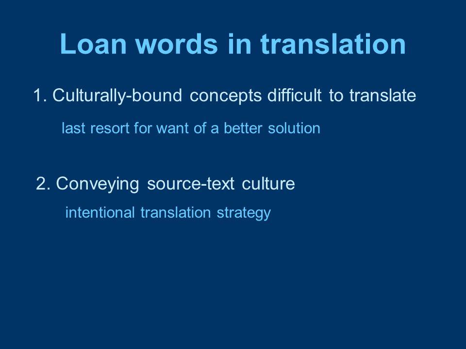 Loan words in translation