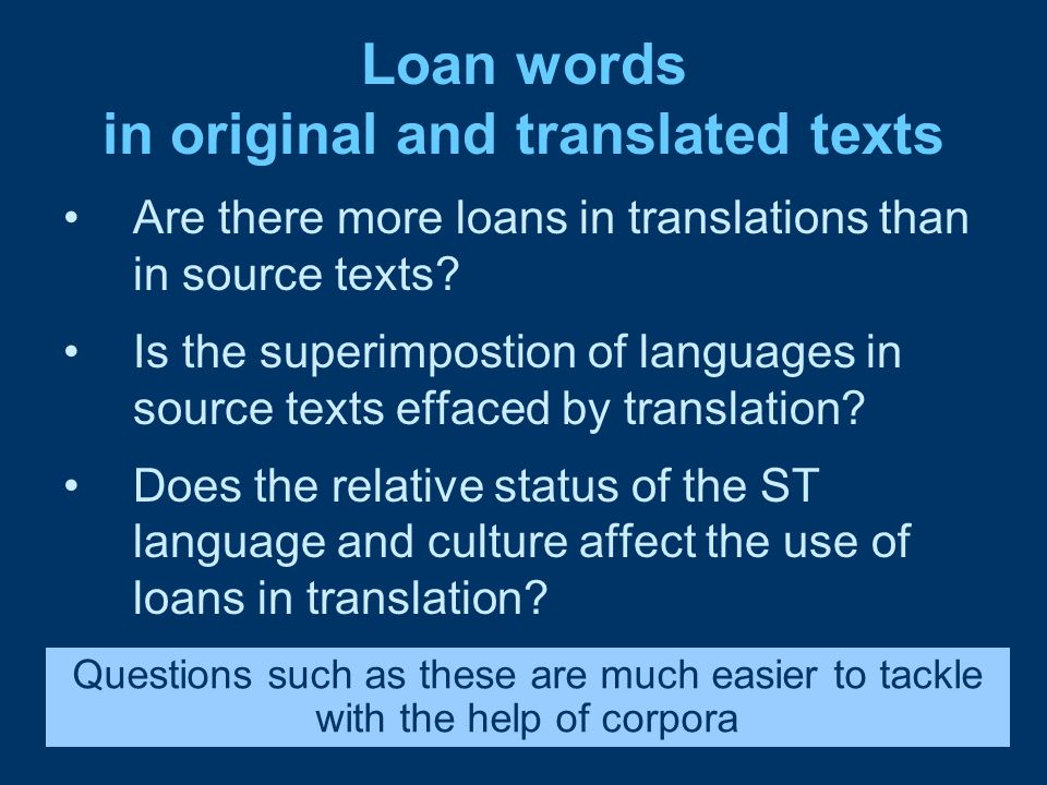 Loan words in original and translated texts