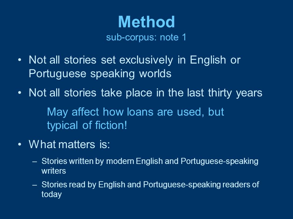 Method sub-corpus: note 1