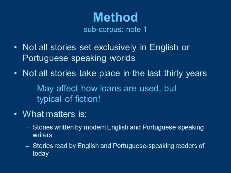 Method sub-corpus: note 1