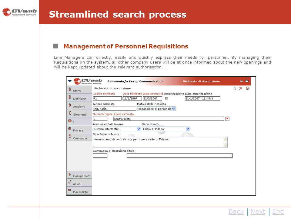 Streamlined search process