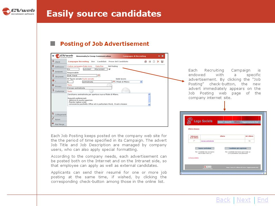 Easily source candidates
