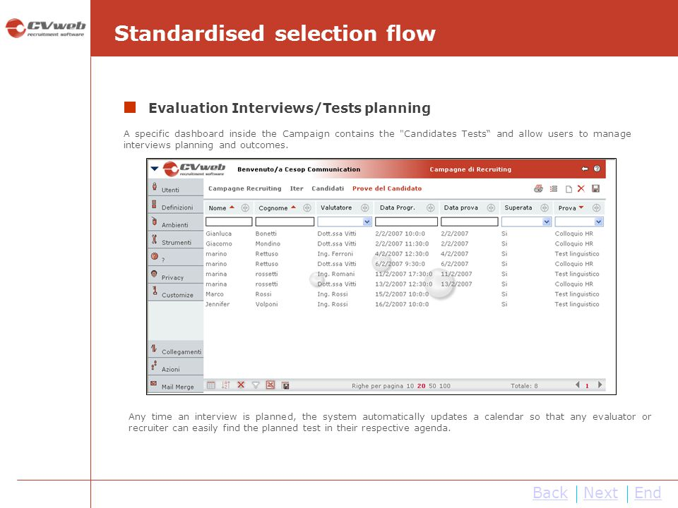 Standardised selection flow