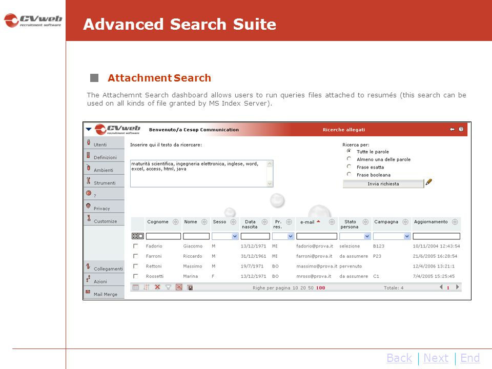 Advanced Search Suite Back Next End Attachment Search