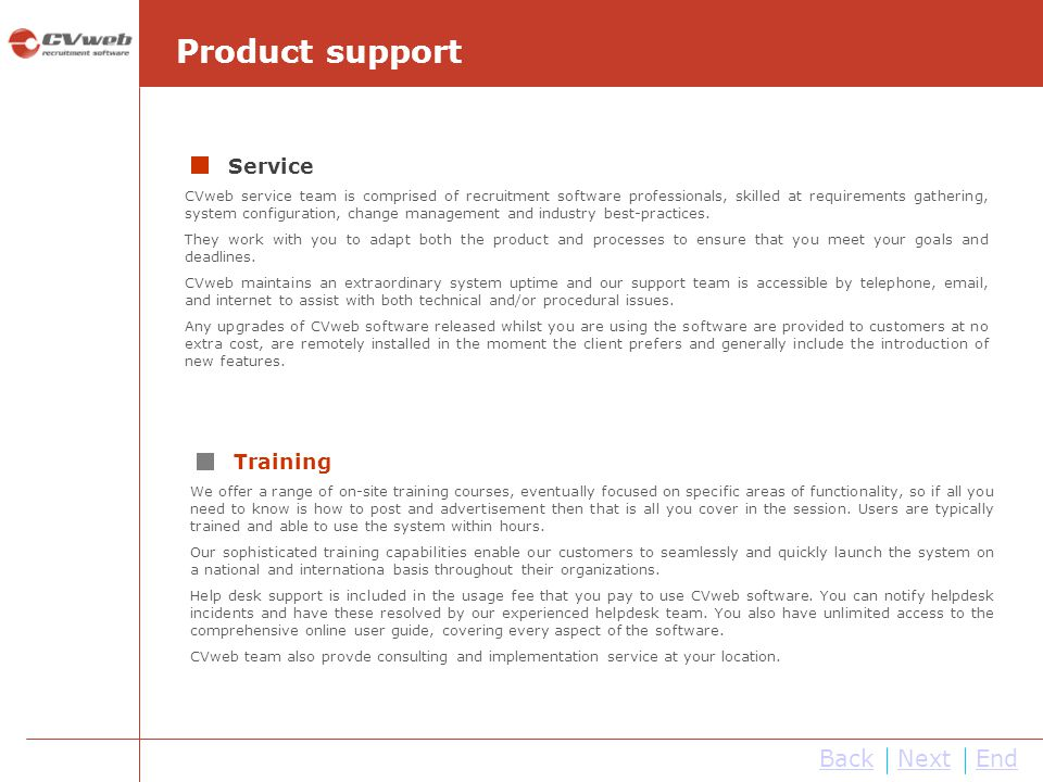 Product support Back Next End Service Training