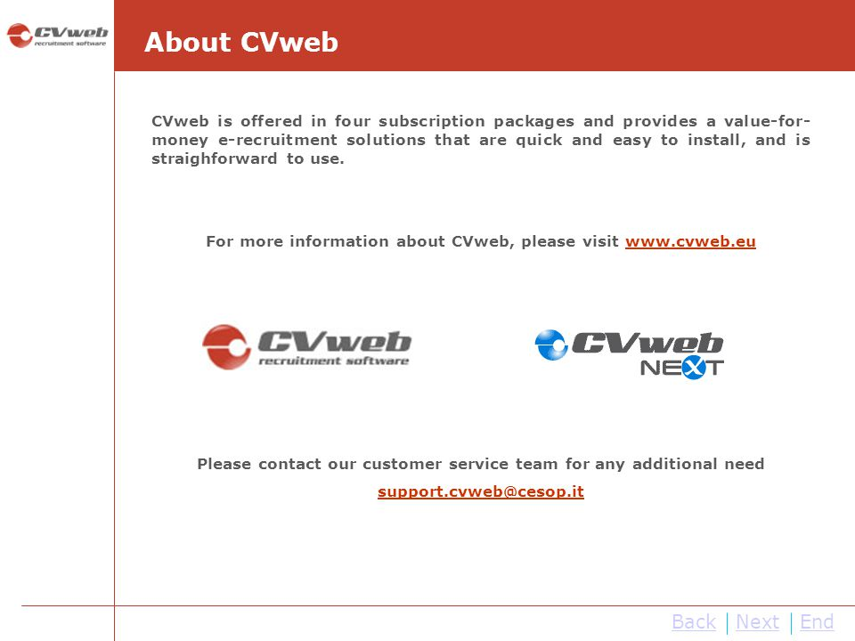 About CVweb Back Next End