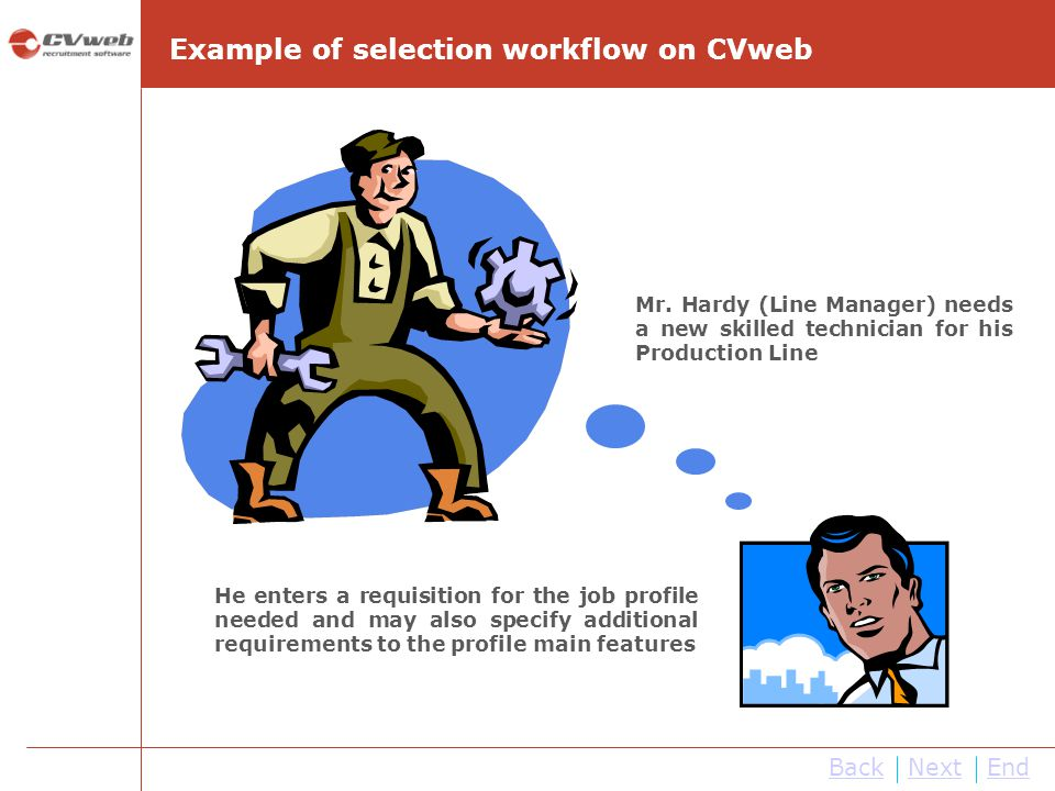 Example of selection workflow on CVweb