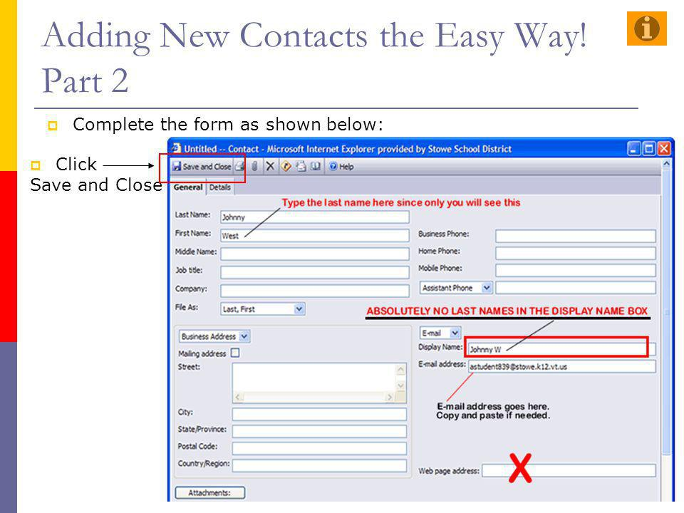 Adding New Contacts the Easy Way! Part 2
