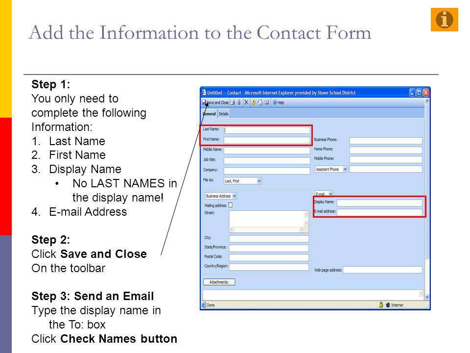Add the Information to the Contact Form