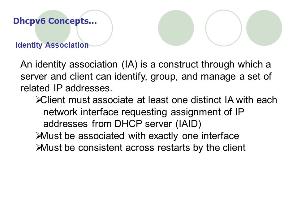 Client must associate at least one distinct IA with each