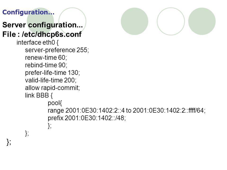 Server configuration... File : /etc/dhcp6s.conf Configuration…