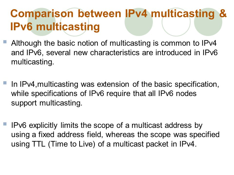 Comparison between IPv4 multicasting & IPv6 multicasting