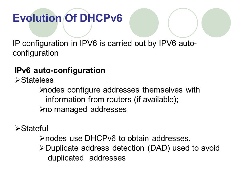 Evolution Of DHCPv6 IP configuration in IPV6 is carried out by IPV6 auto-configuration. IPv6 auto-configuration.