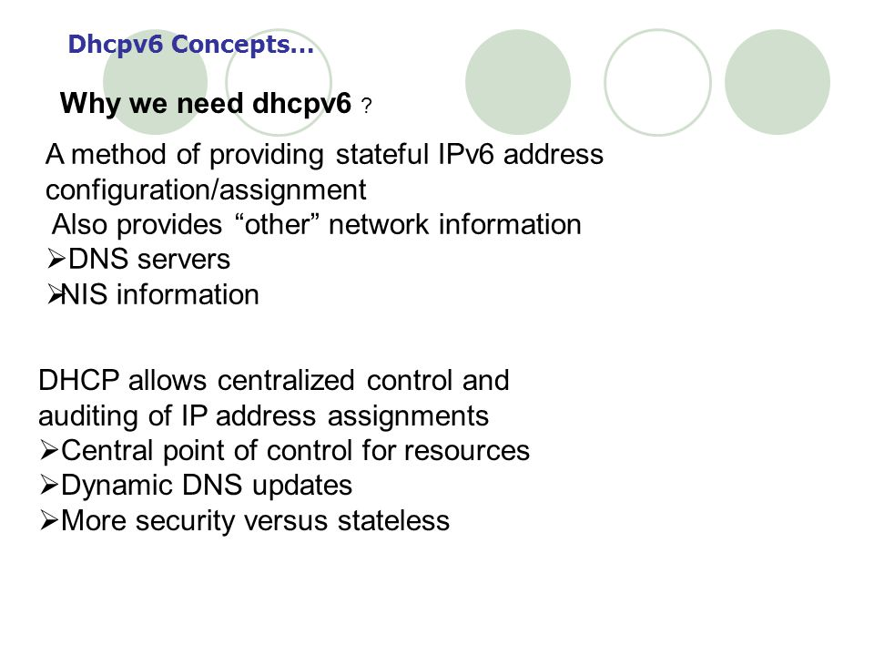A method of providing stateful IPv6 address configuration/assignment