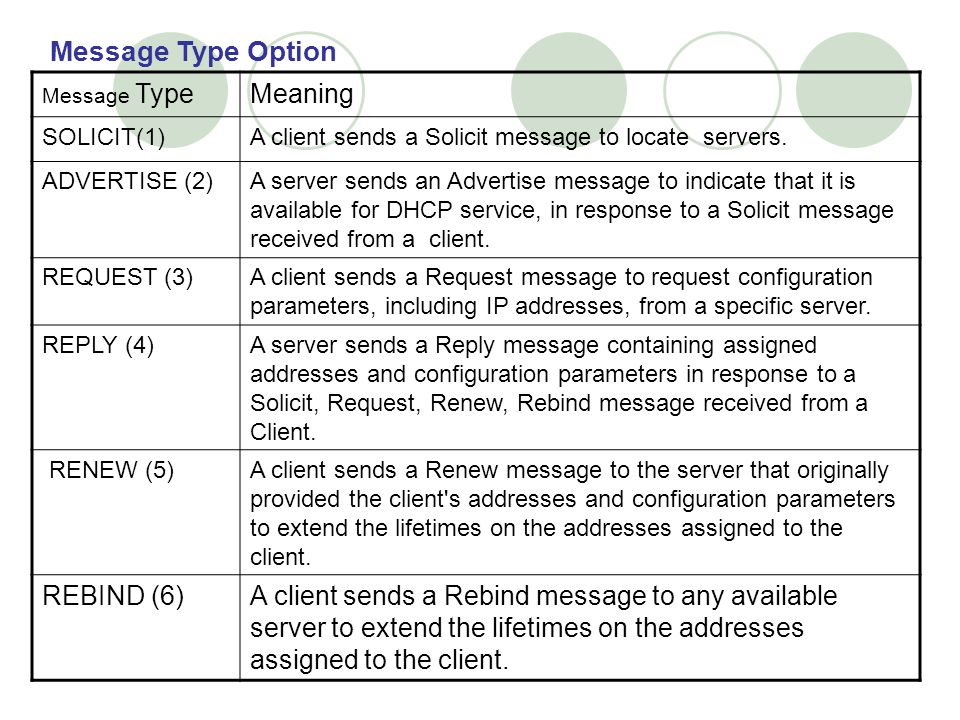 Message Type Option Meaning REBIND (6)