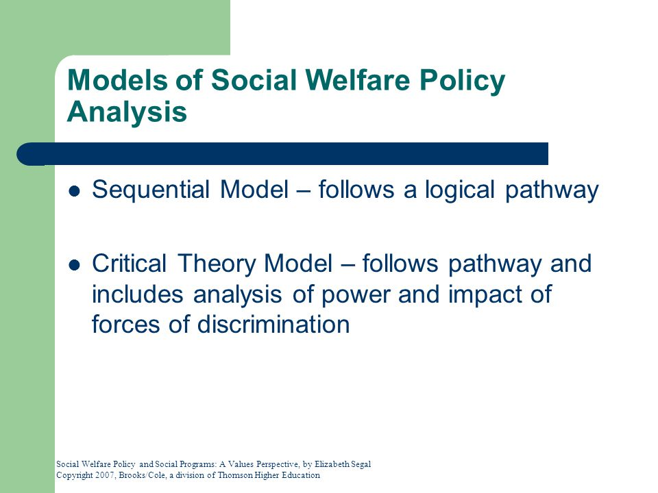 Models of Social Welfare Policy Analysis