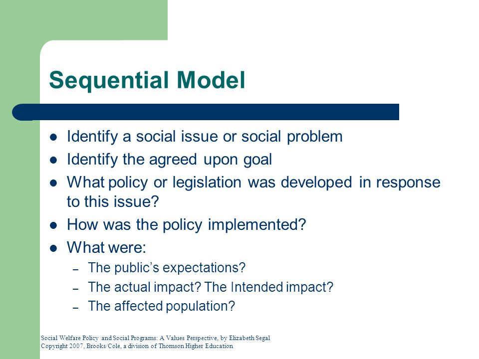 Sequential Model Identify a social issue or social problem