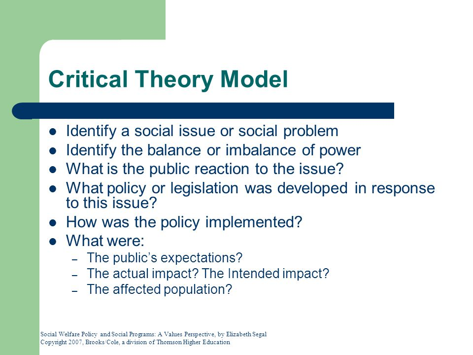 Critical Theory Model Identify a social issue or social problem