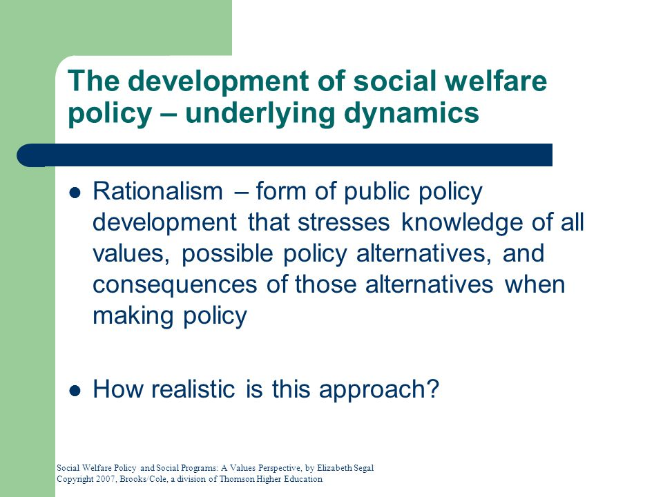 The development of social welfare policy – underlying dynamics