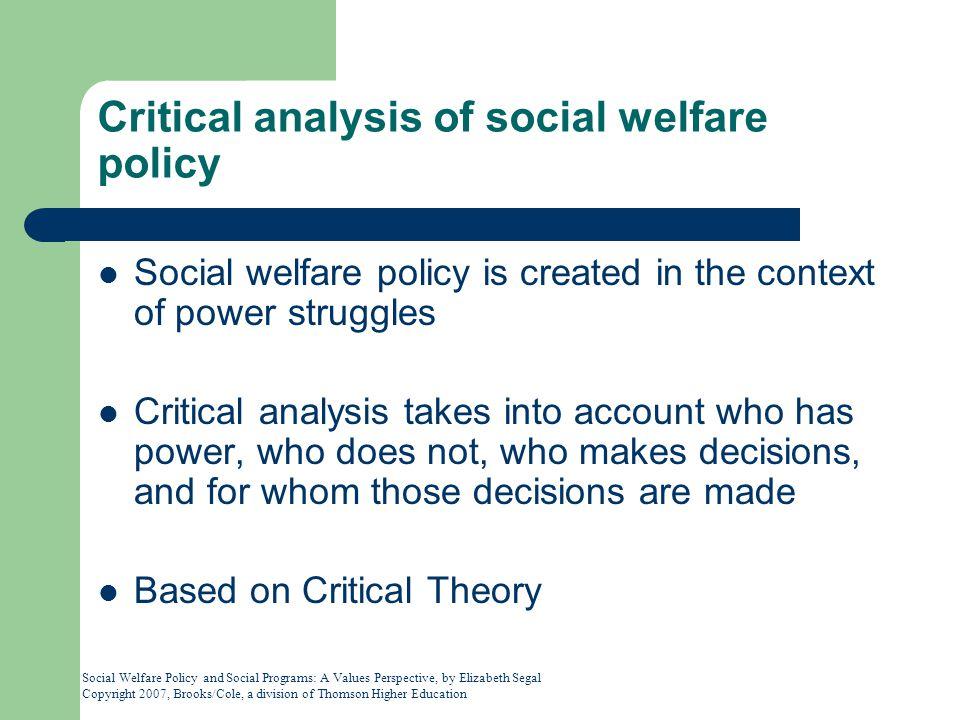 Critical analysis of social welfare policy