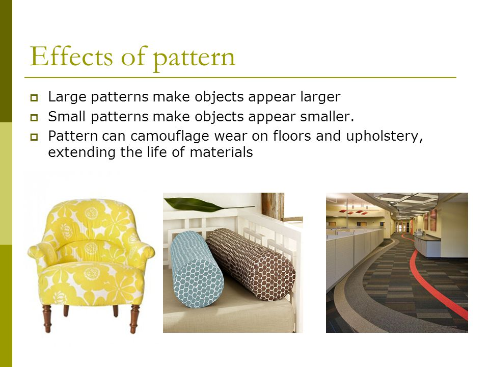 Effects of pattern Large patterns make objects appear larger