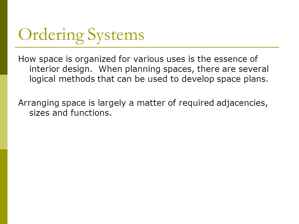 Ordering Systems