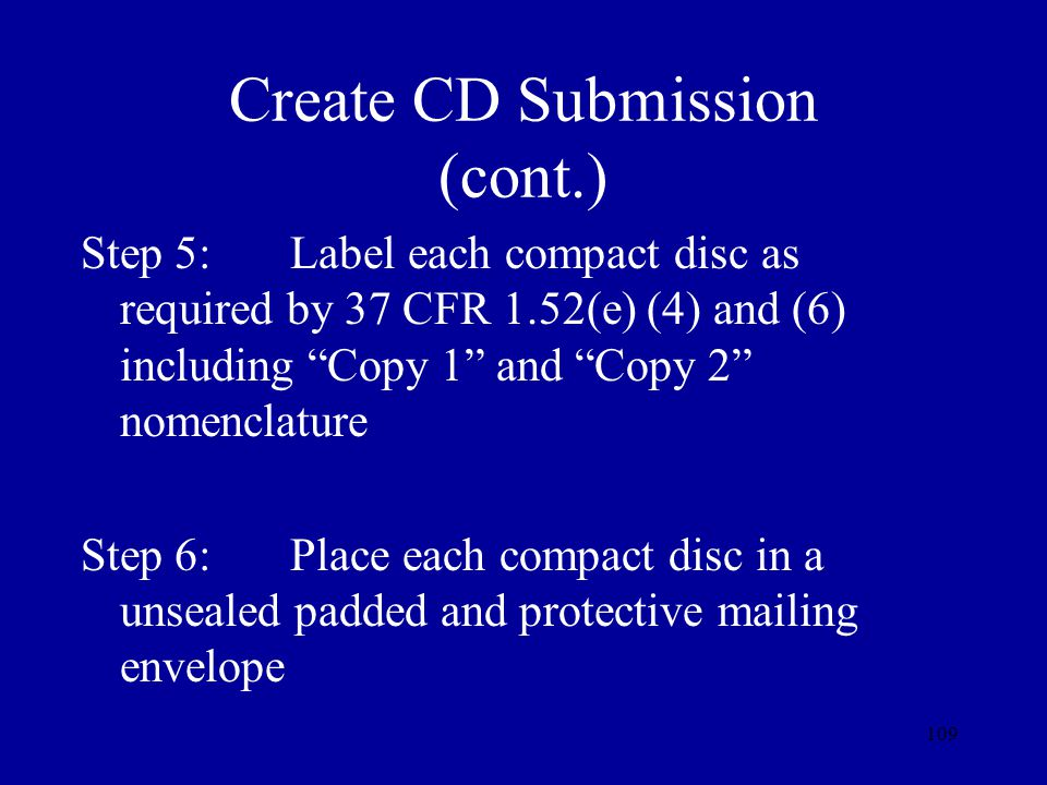 Create CD Submission (cont.)
