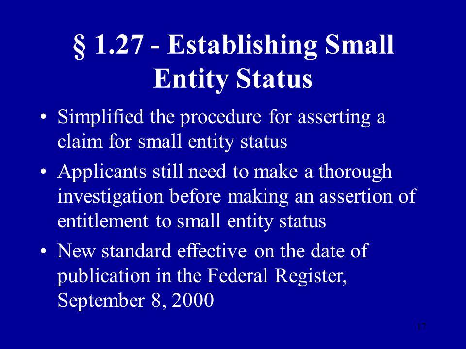§ 1.27 - Establishing Small Entity Status