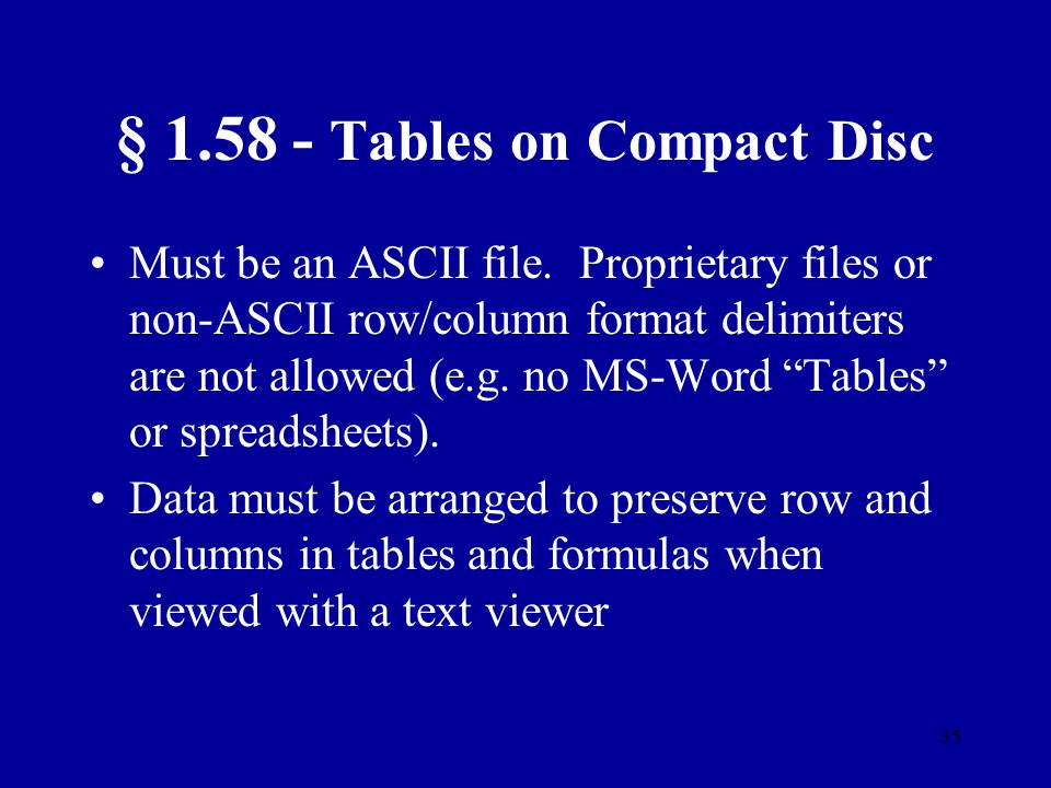§ 1.58 - Tables on Compact Disc