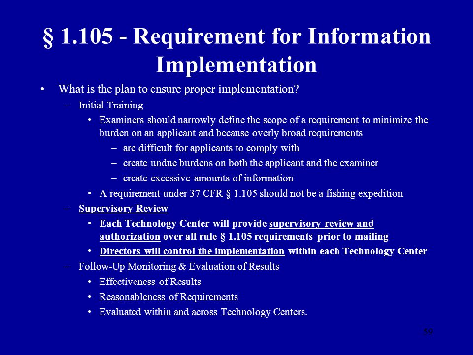 § 1.105 - Requirement for Information Implementation