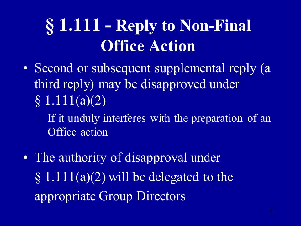 § 1.111 - Reply to Non-Final Office Action