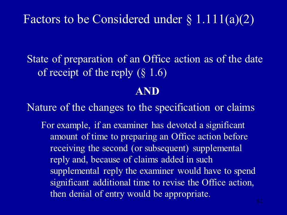 Factors to be Considered under § 1.111(a)(2)