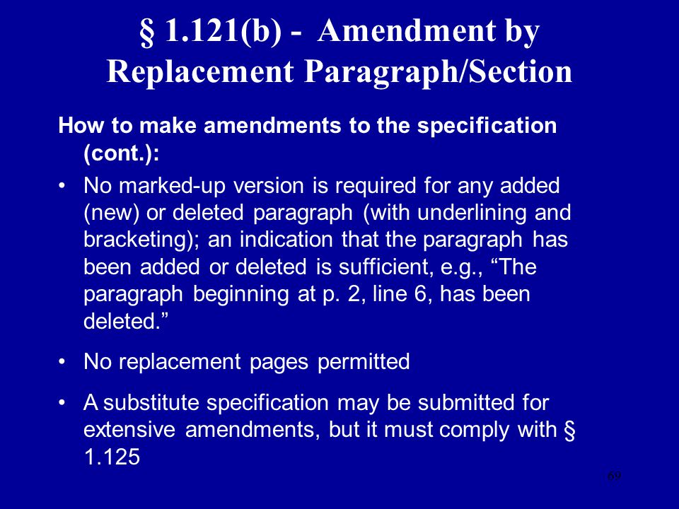 § 1.121(b) - Amendment by Replacement Paragraph/Section